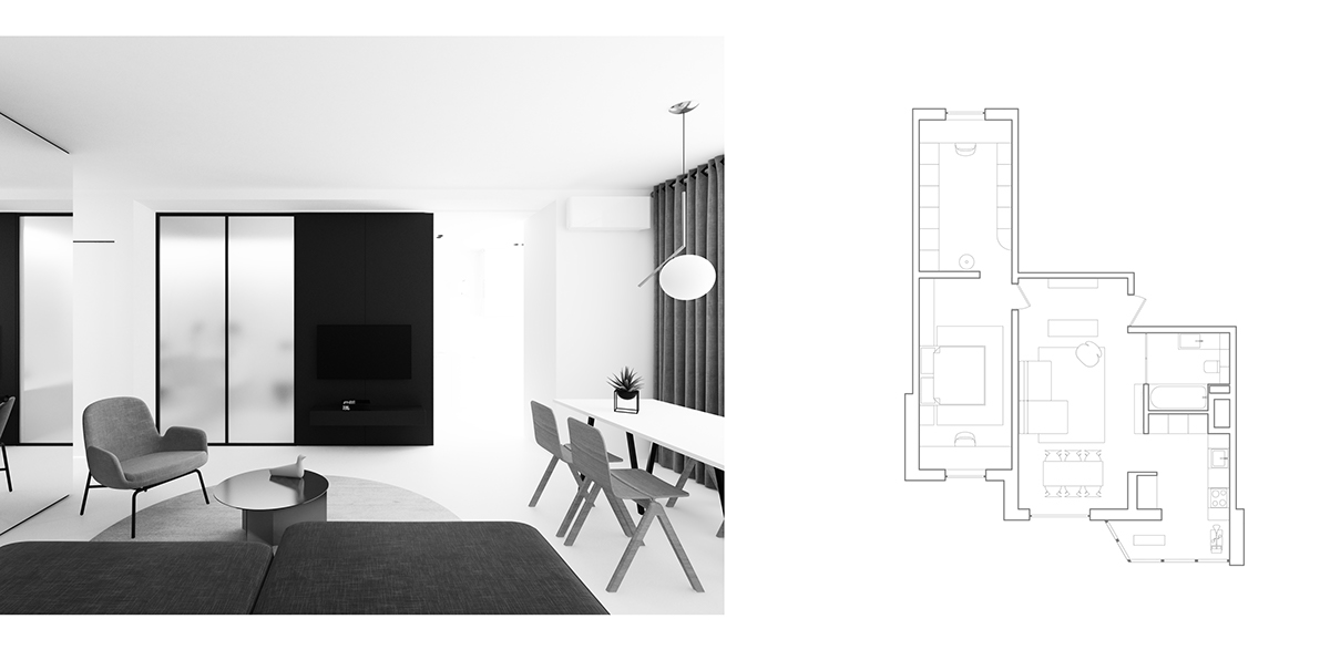House Plans Sqm Home - 3 light and bright apartments celebrating white space