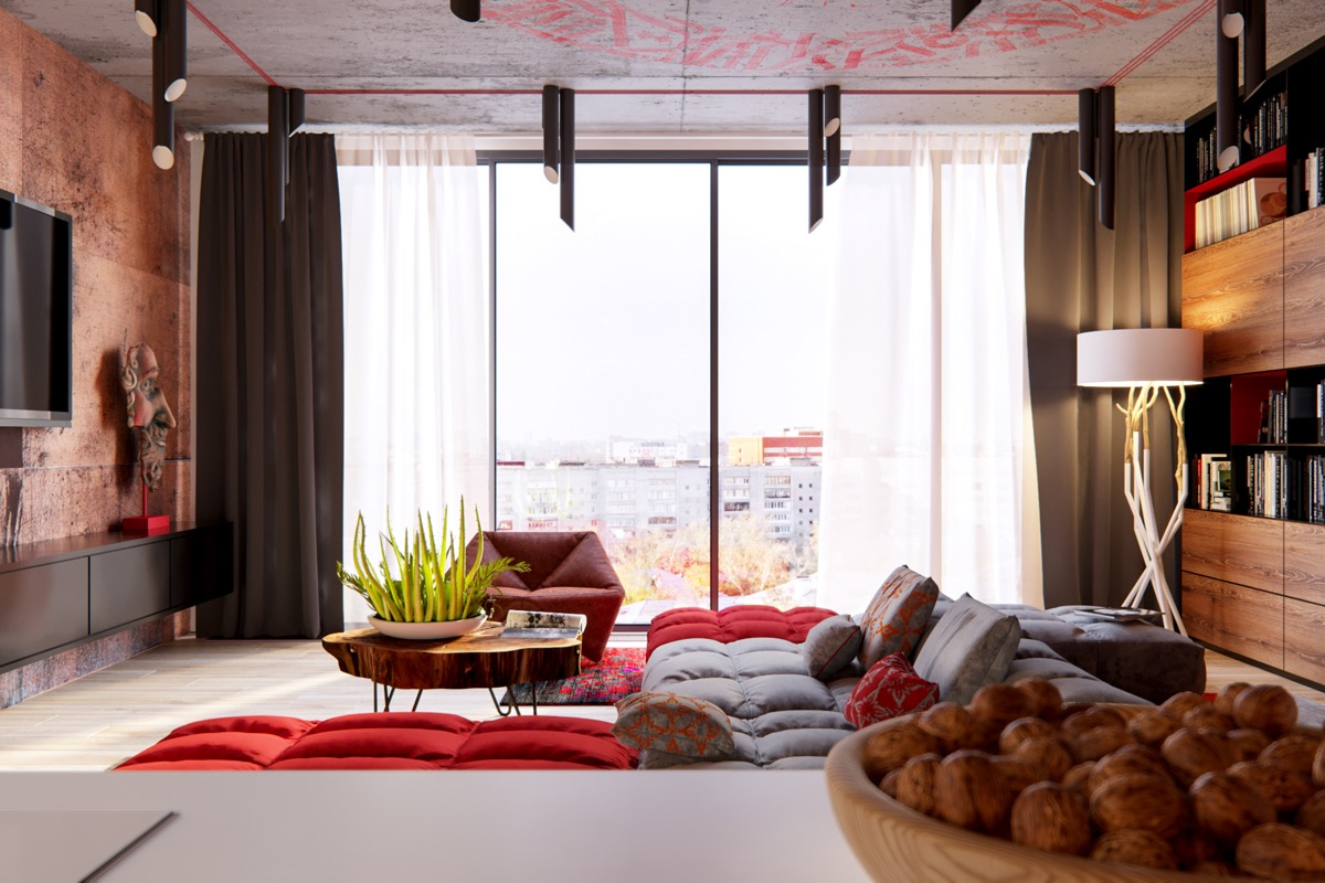 Large Window Design - 3 modern apartment interiors that masterfully demonstrate how to use red as an artistic accent