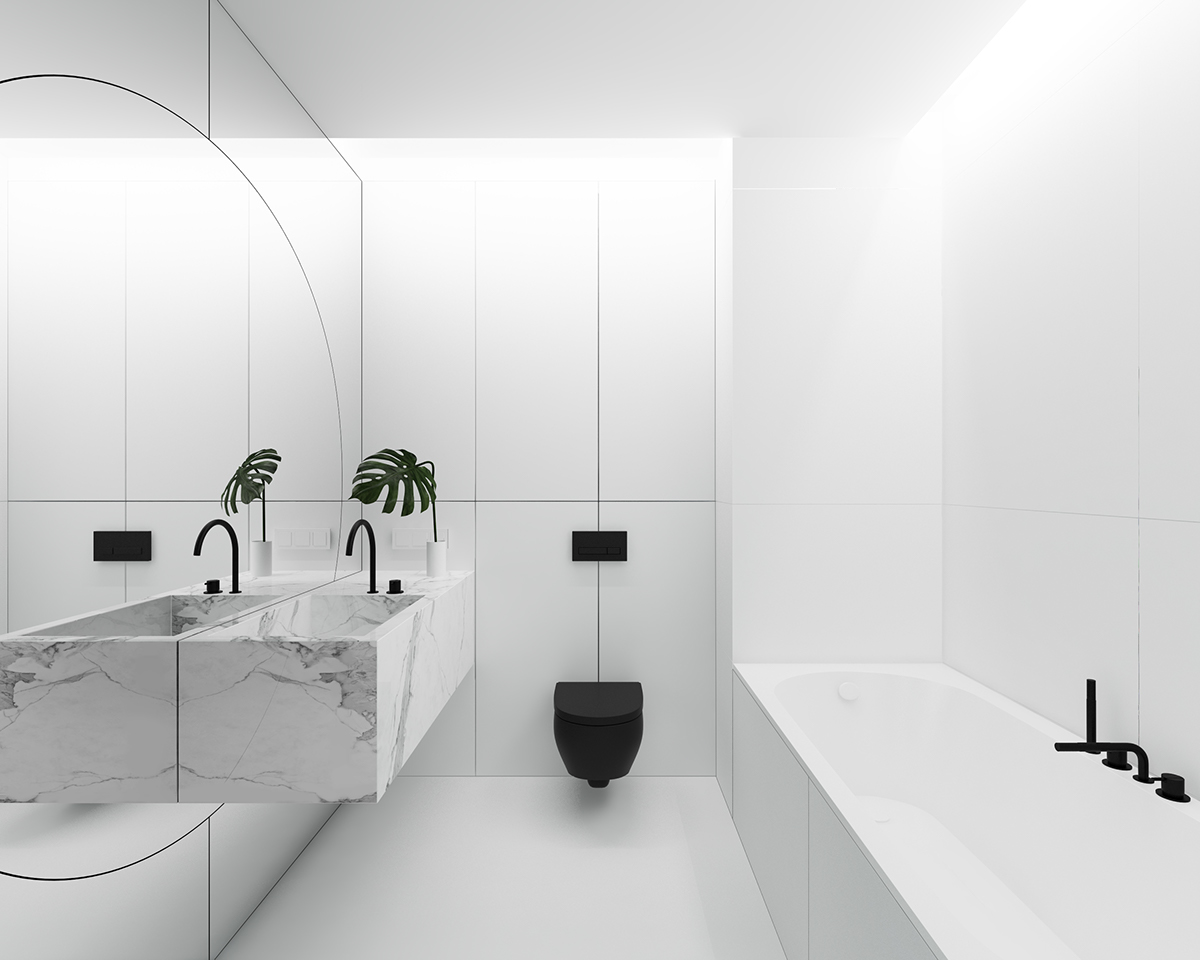 Light And White Bathroom Marble Counter - 3 light and bright apartments celebrating white space