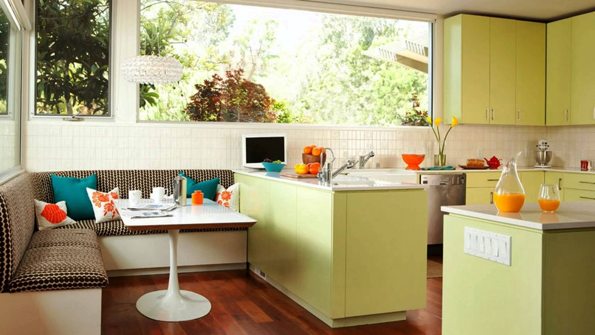 22 beautiful breakfast nooks that add to your kitchen 39 s charm for Lime green kitchen wallpaper
