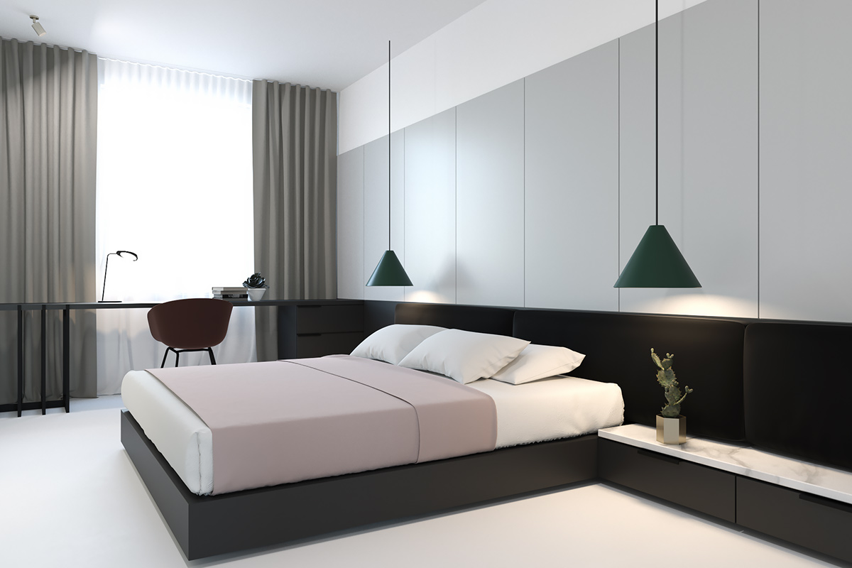 Low Lying Bedroom Forest Green Pendant Lights - 3 light and bright apartments celebrating white space
