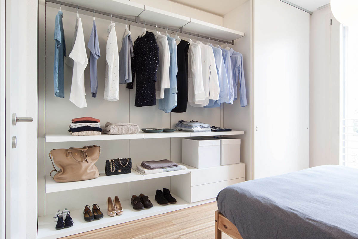 3 light and bright apartments celebrating white space - Wardrobe for small spaces minimalist ...