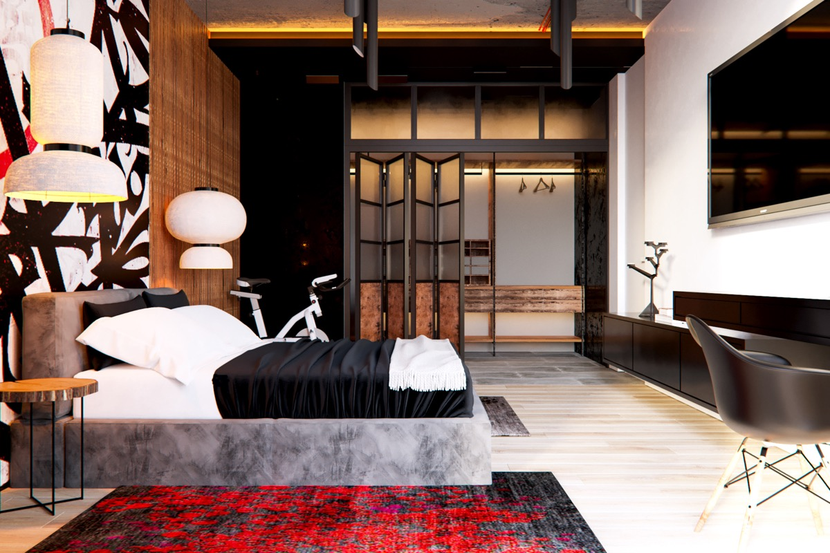 Modern Bedroom - 3 modern apartment interiors that masterfully demonstrate how to use red as an artistic accent