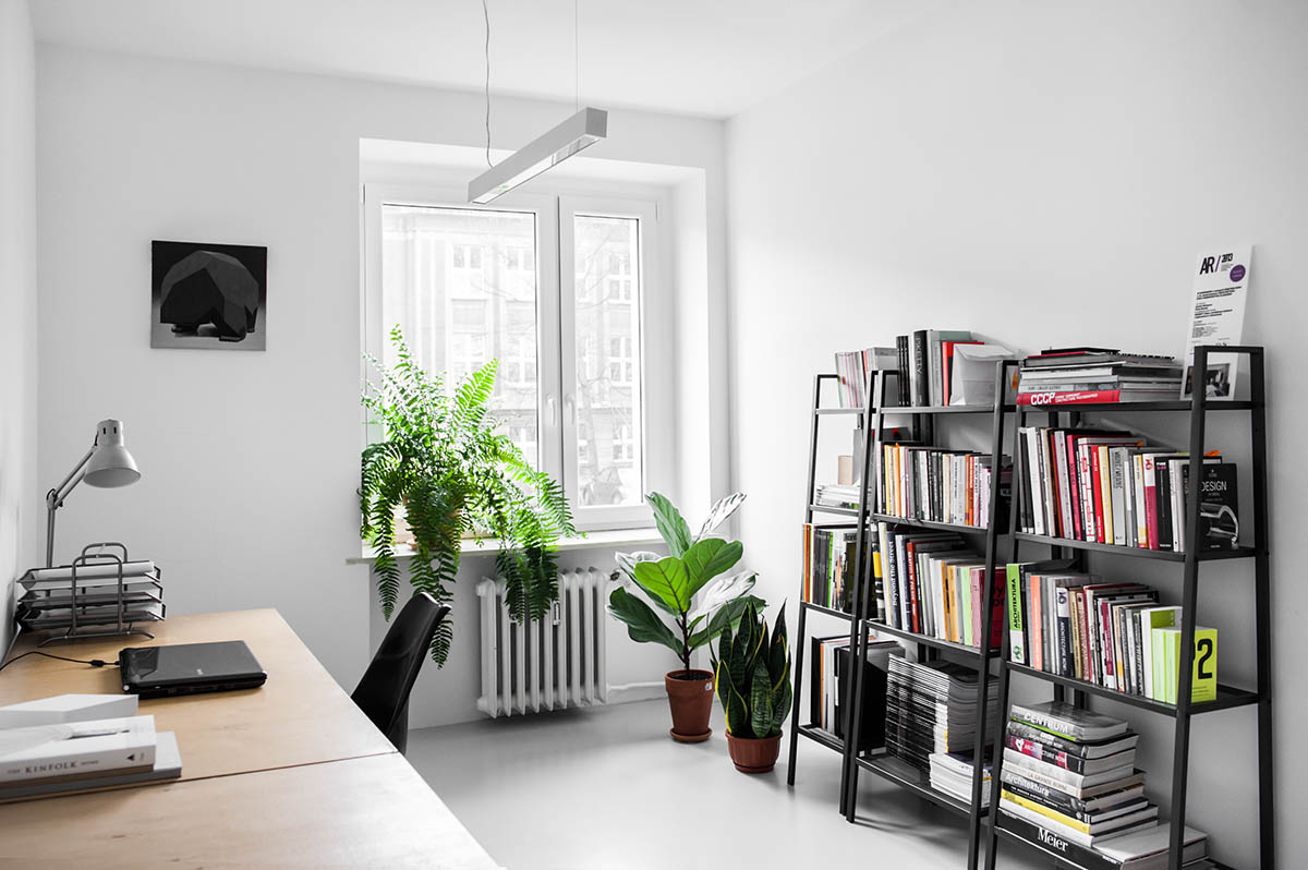 Modern Home Office Black Frame Bookcase - 3 light and bright apartments celebrating white space