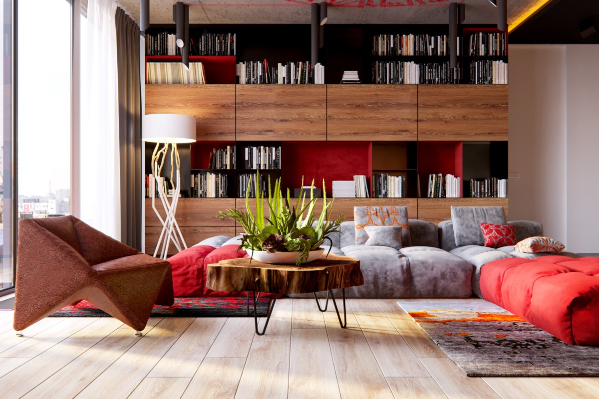 Modern Sofa - 3 modern apartment interiors that masterfully demonstrate how to use red as an artistic accent
