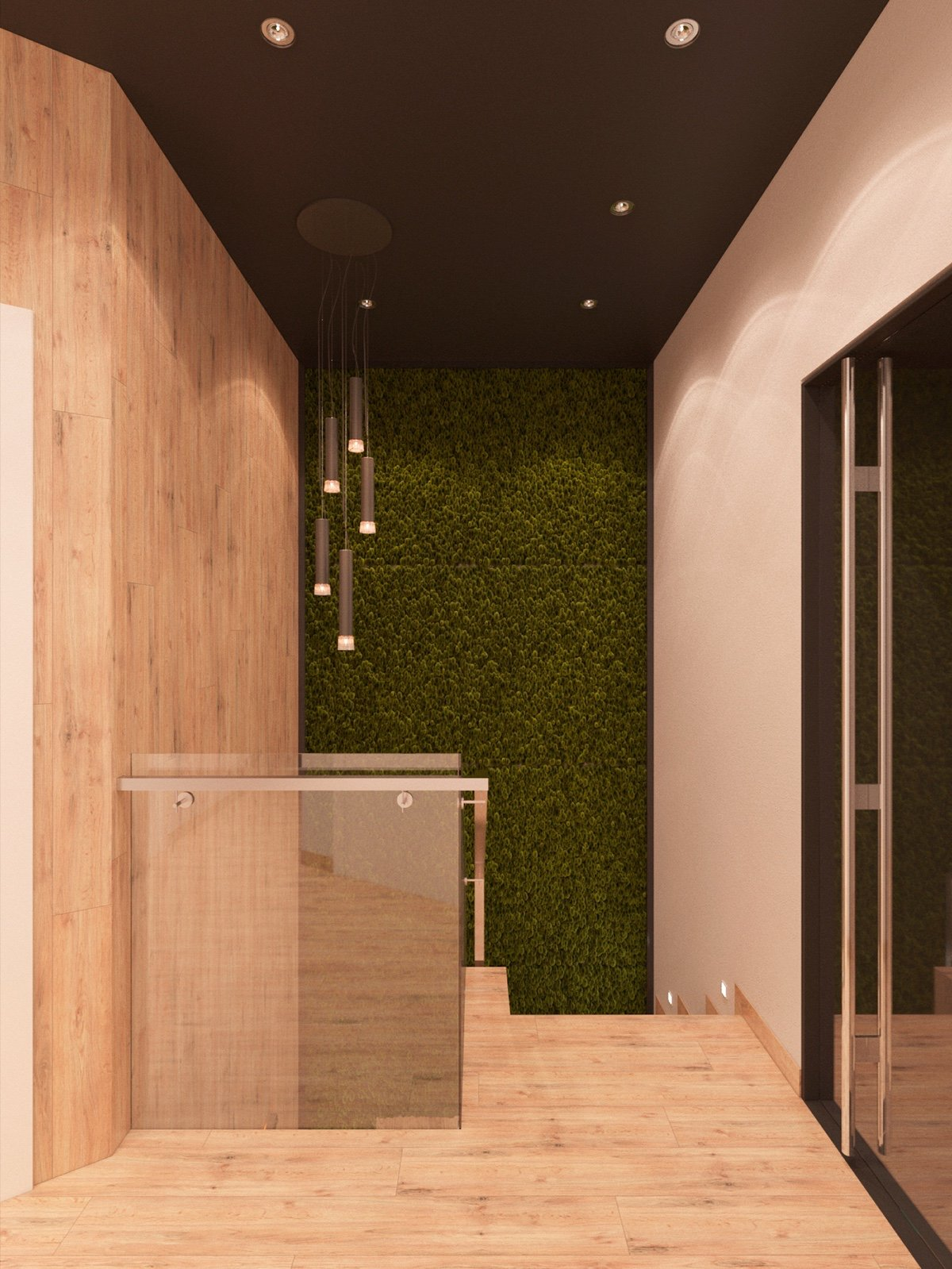 Natural Plant Wall - 3 modern apartment interiors that masterfully demonstrate how to use red as an artistic accent