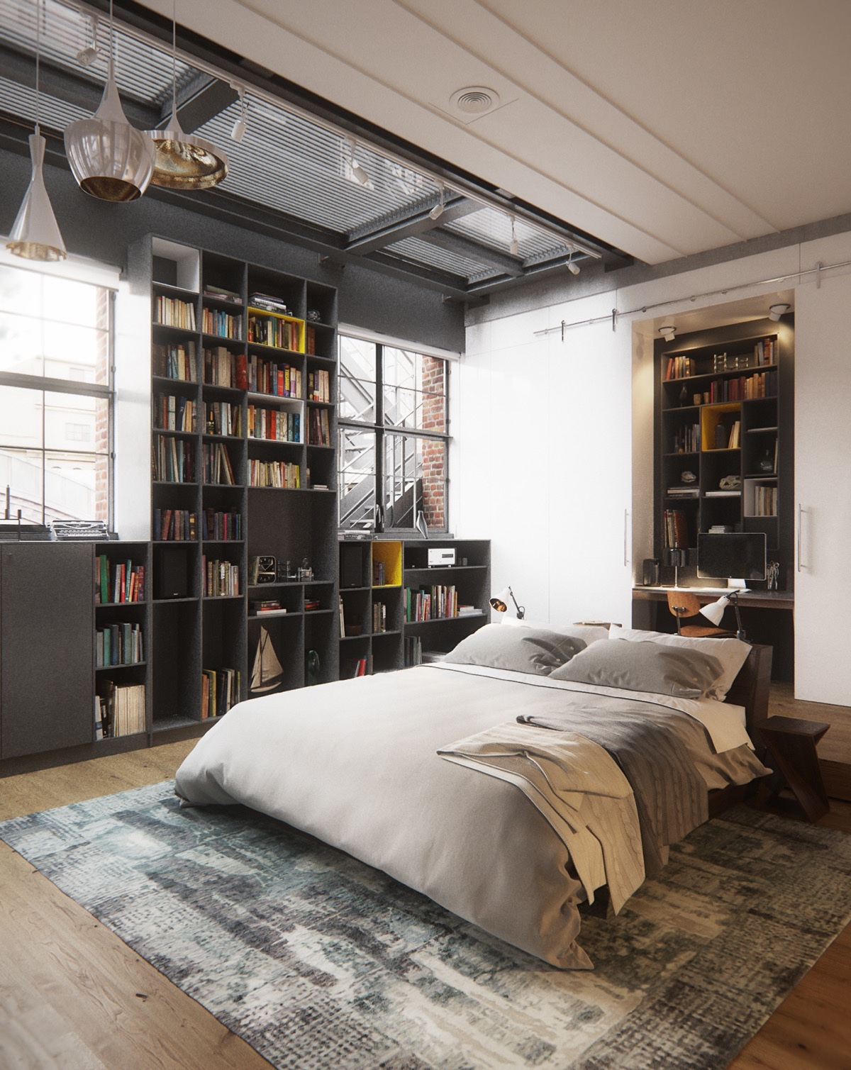 industrial style bedroom design the essential guide. Black Bedroom Furniture Sets. Home Design Ideas
