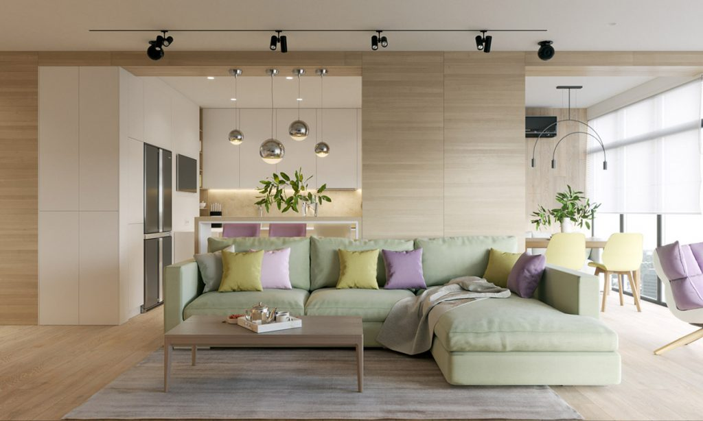 Pastel accents over expansive light wood in two modern homes for Contemporary theme in interior design
