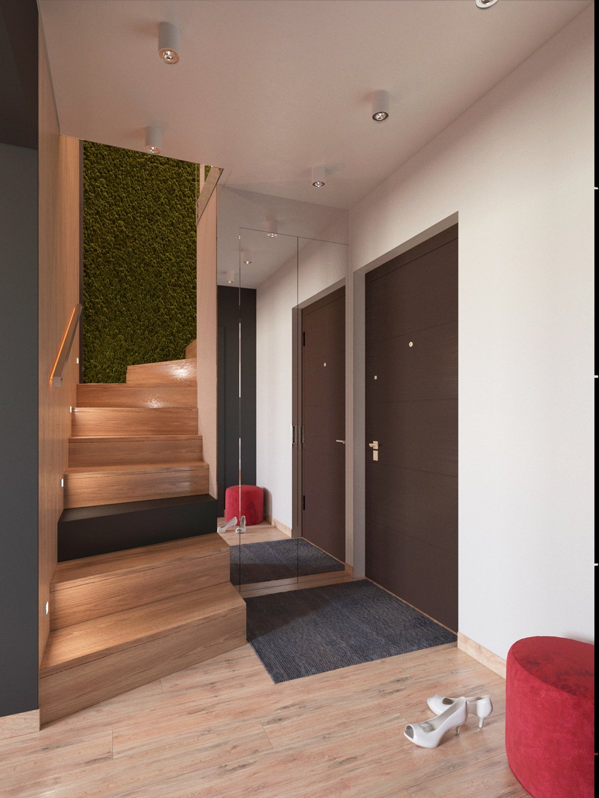 Plant Wall - 3 modern apartment interiors that masterfully demonstrate how to use red as an artistic accent