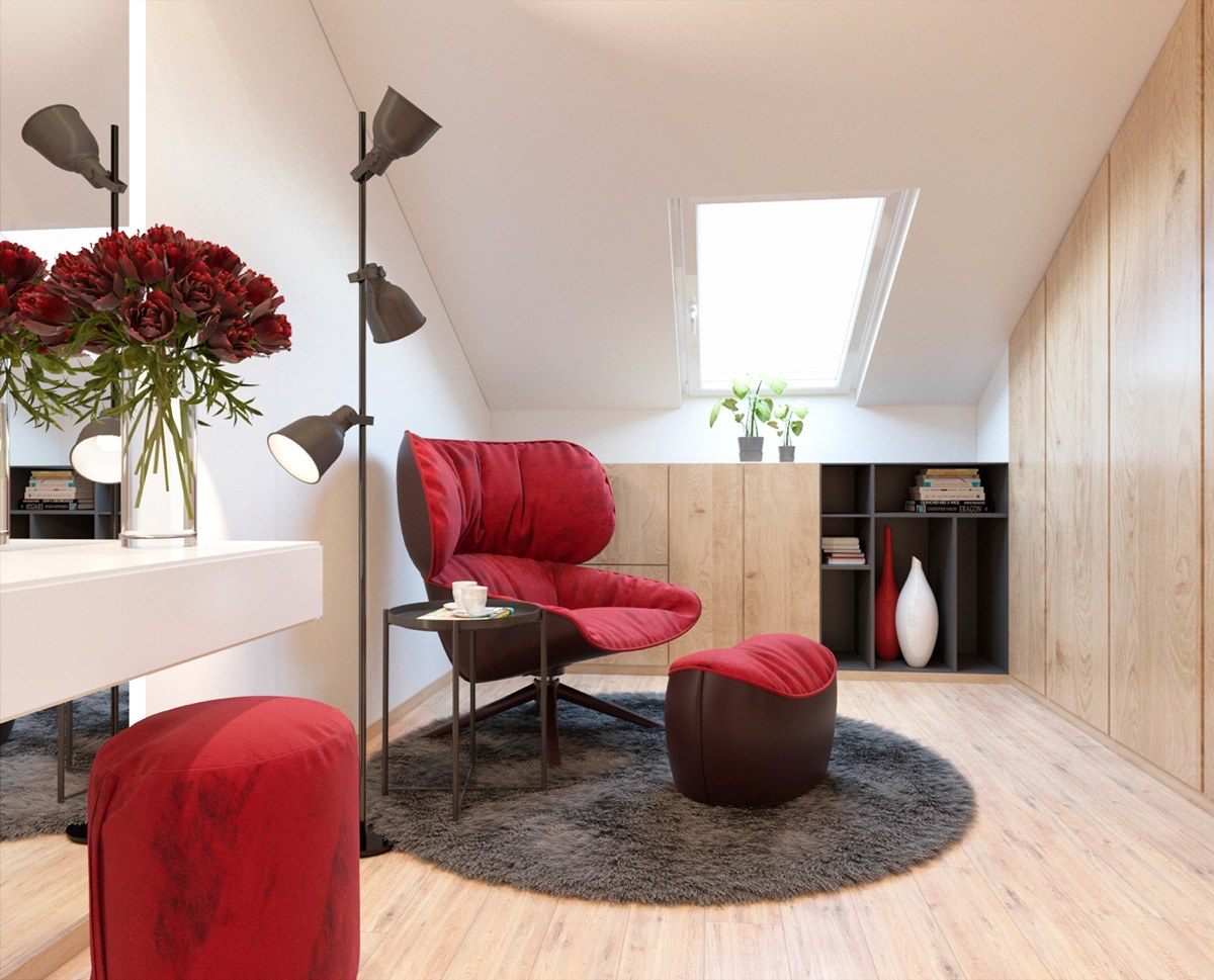 Red Comfortable Reading Chair - 3 modern apartment interiors that masterfully demonstrate how to use red as an artistic accent