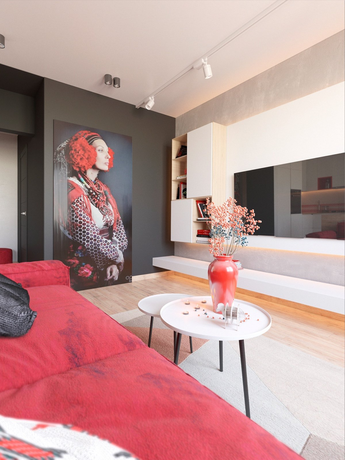 Red Flower Vase - 3 modern apartment interiors that masterfully demonstrate how to use red as an artistic accent