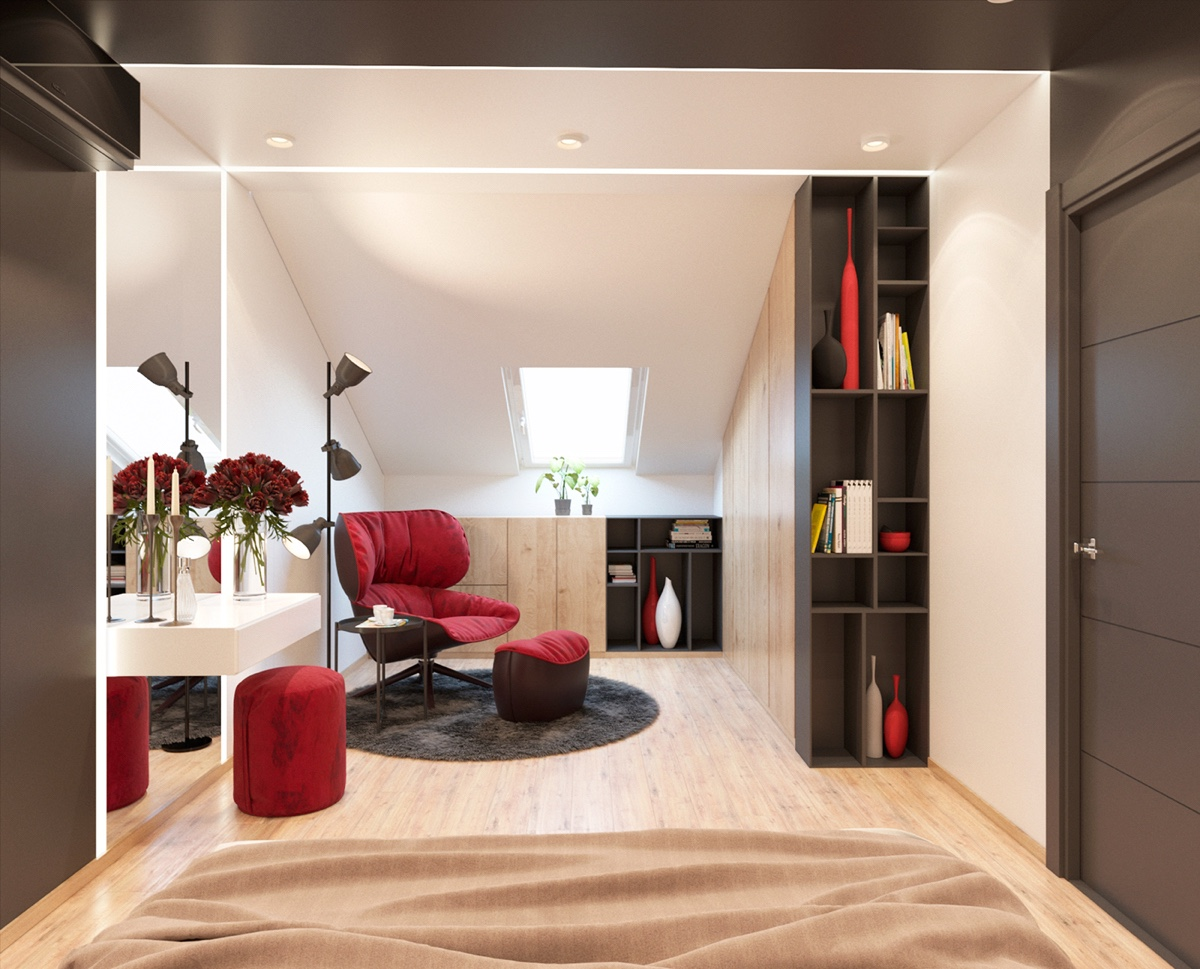 Red Lounge Chair - 3 modern apartment interiors that masterfully demonstrate how to use red as an artistic accent