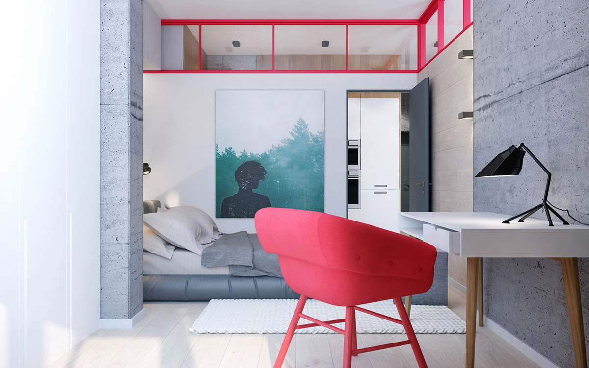 Red Office Chair - 3 modern apartment interiors that masterfully demonstrate how to use red as an artistic accent