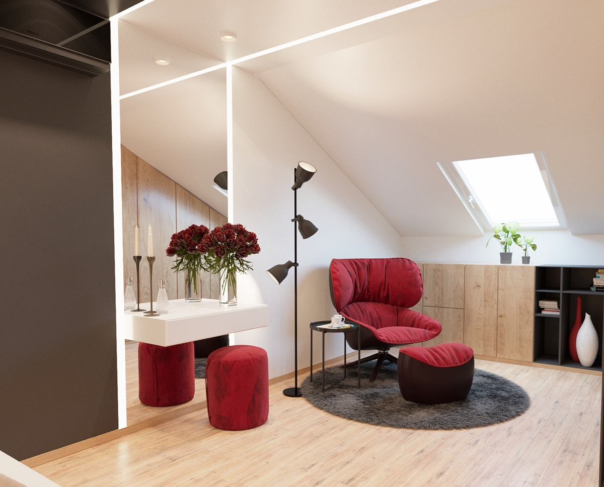 Red Ottoman Chair - 3 modern apartment interiors that masterfully demonstrate how to use red as an artistic accent