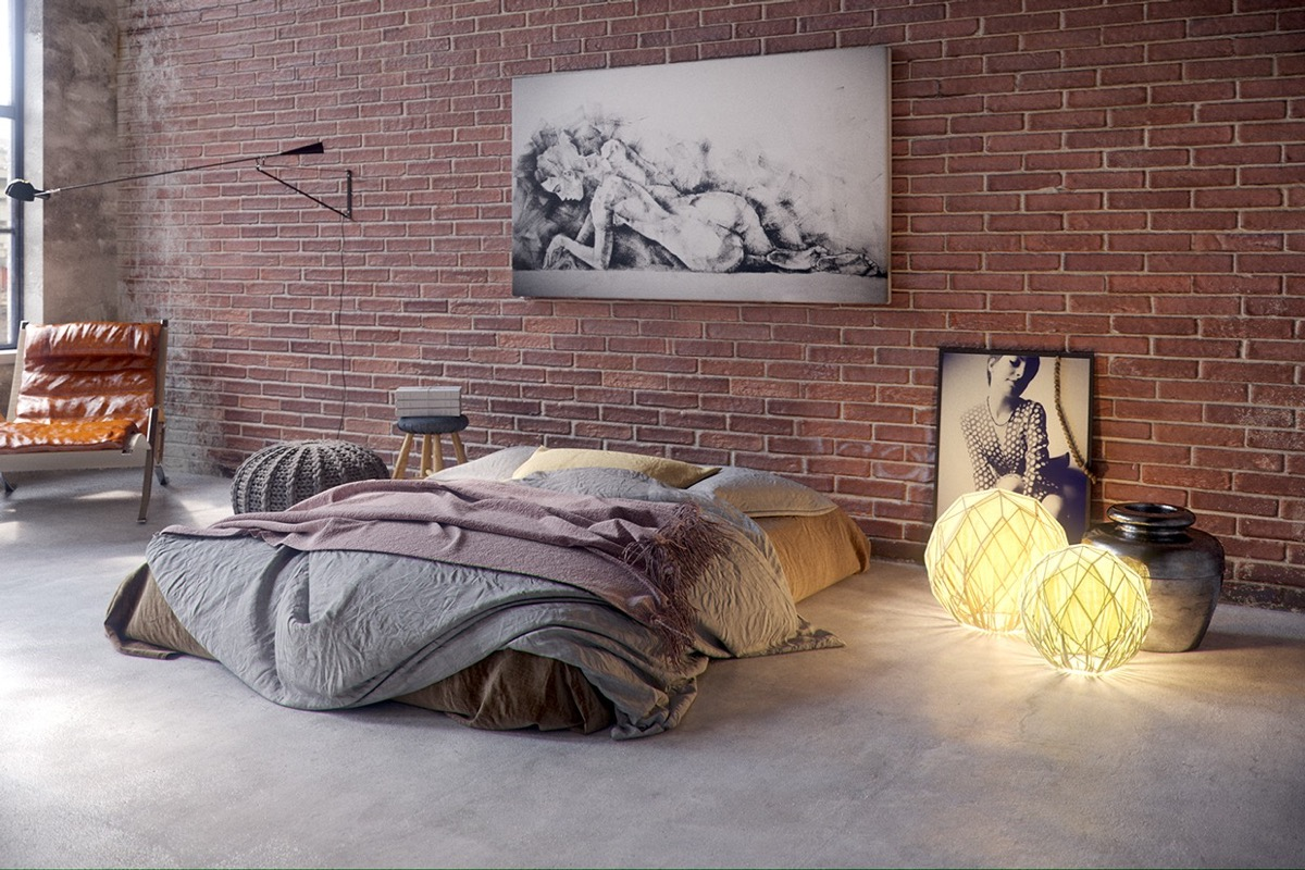 Industrial style bedroom design the essential guide for Bedroom w brick wall