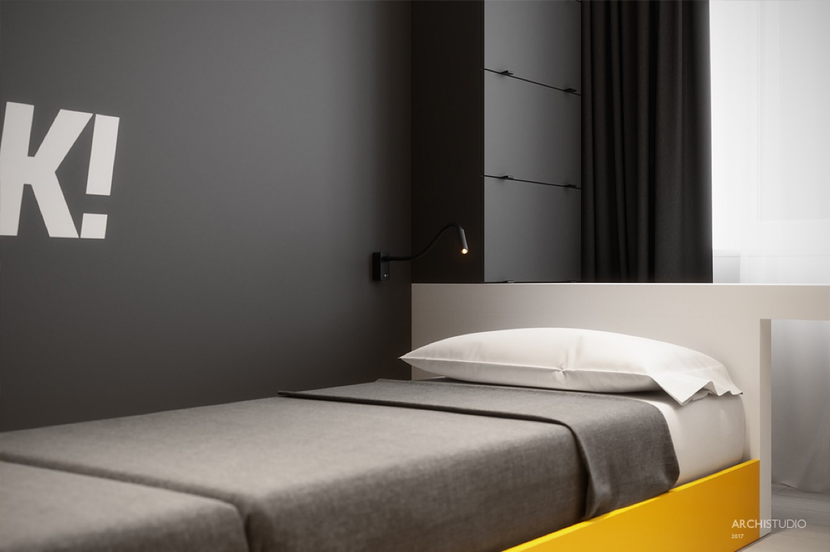 Simple Gray Bed - Dark themed kids rooms