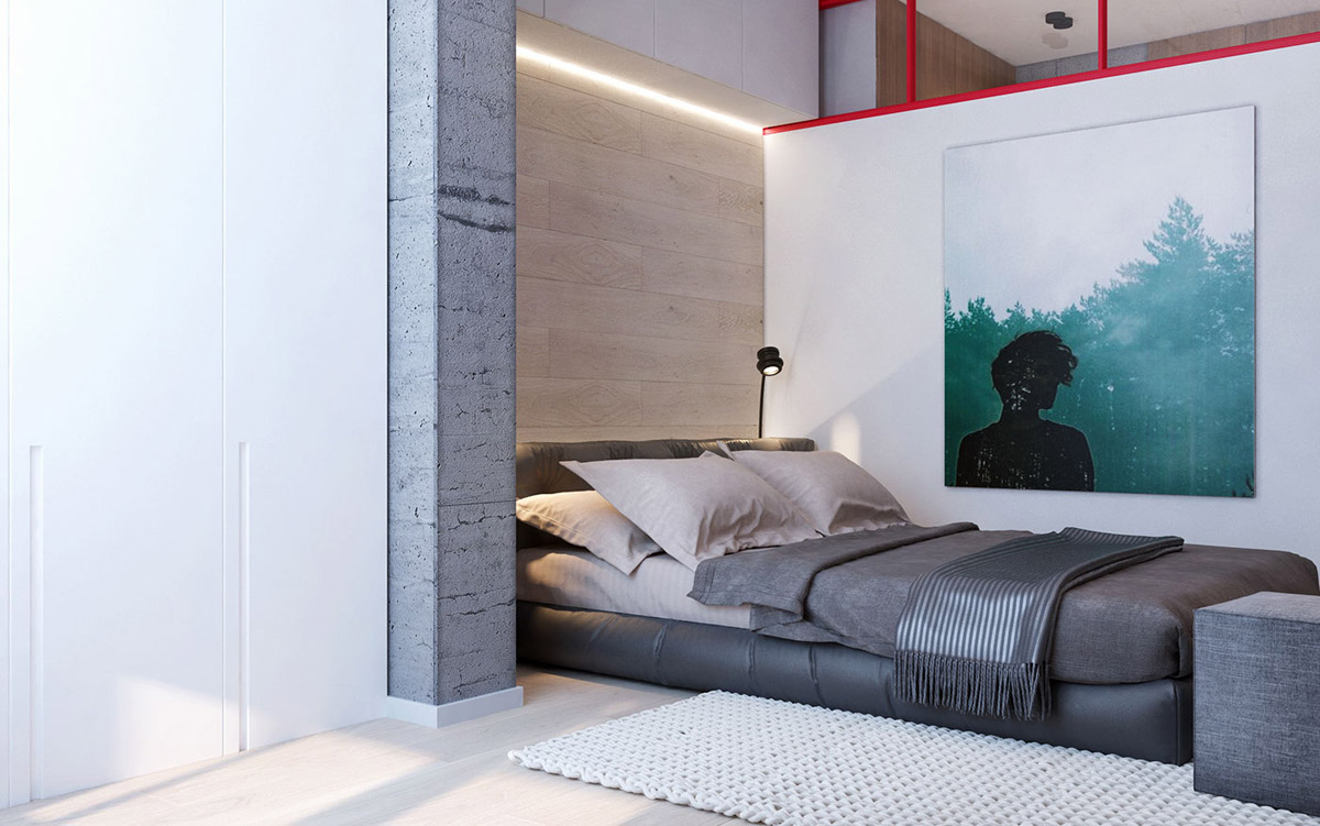 Sleeping Cove - 3 modern apartment interiors that masterfully demonstrate how to use red as an artistic accent