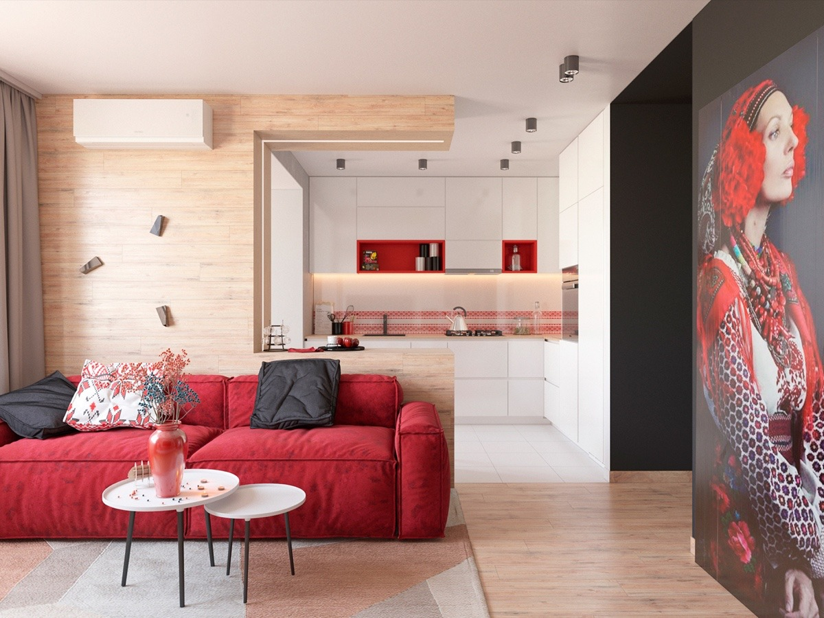 Soft Red Sofa - 3 modern apartment interiors that masterfully demonstrate how to use red as an artistic accent