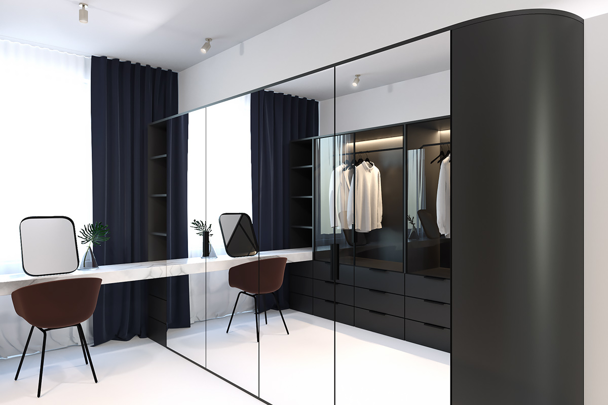 Sophisticated Walk In Wardrobe Full Mirrored Wall - 3 light and bright apartments celebrating white space