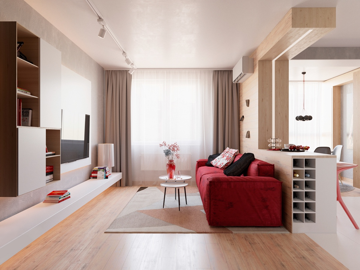 Sunny Small Living Room - 3 modern apartment interiors that masterfully demonstrate how to use red as an artistic accent