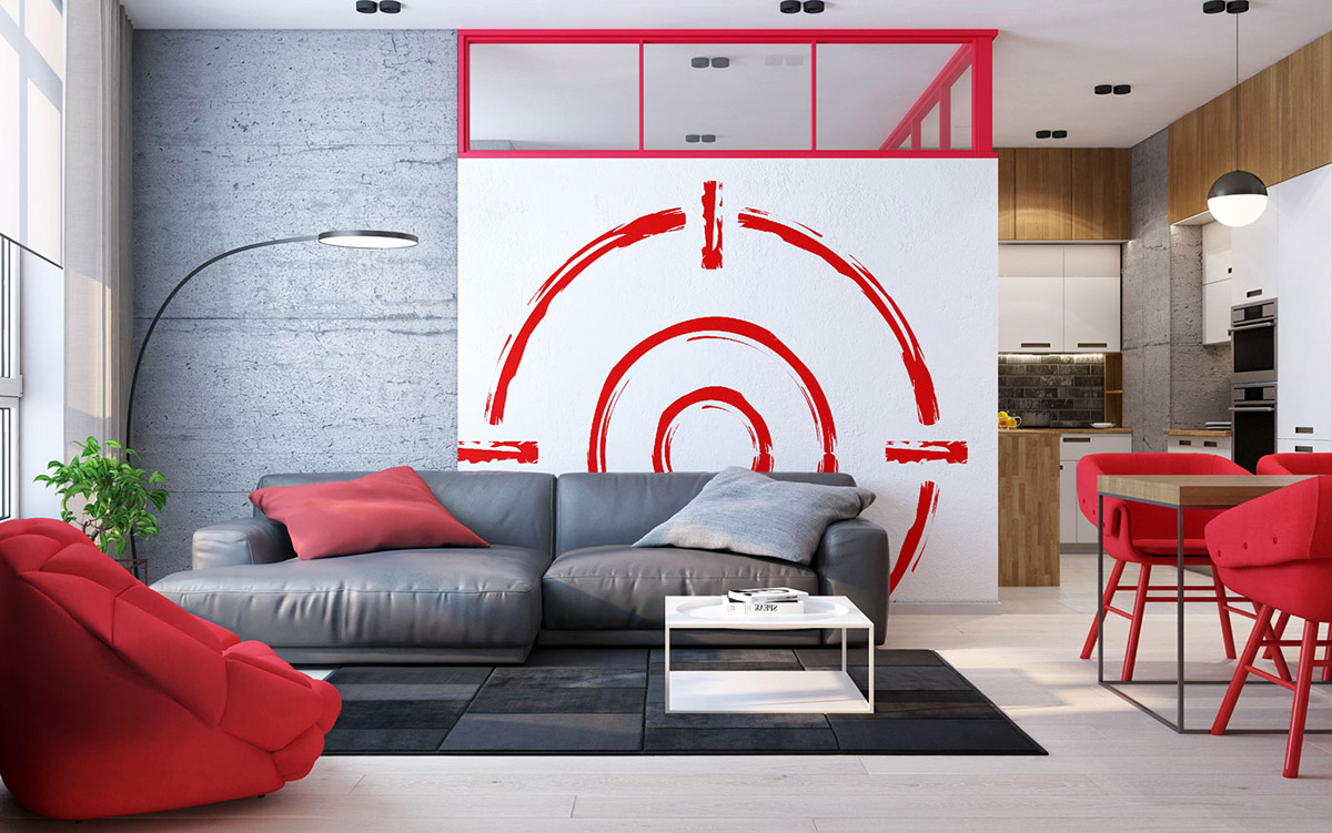 Unique Floor Lamps Long Arm - 3 modern apartment interiors that masterfully demonstrate how to use red as an artistic accent