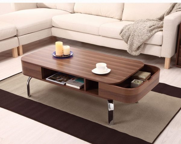 BUY IT Modern Rounded Corner Coffee Table With Drawers
