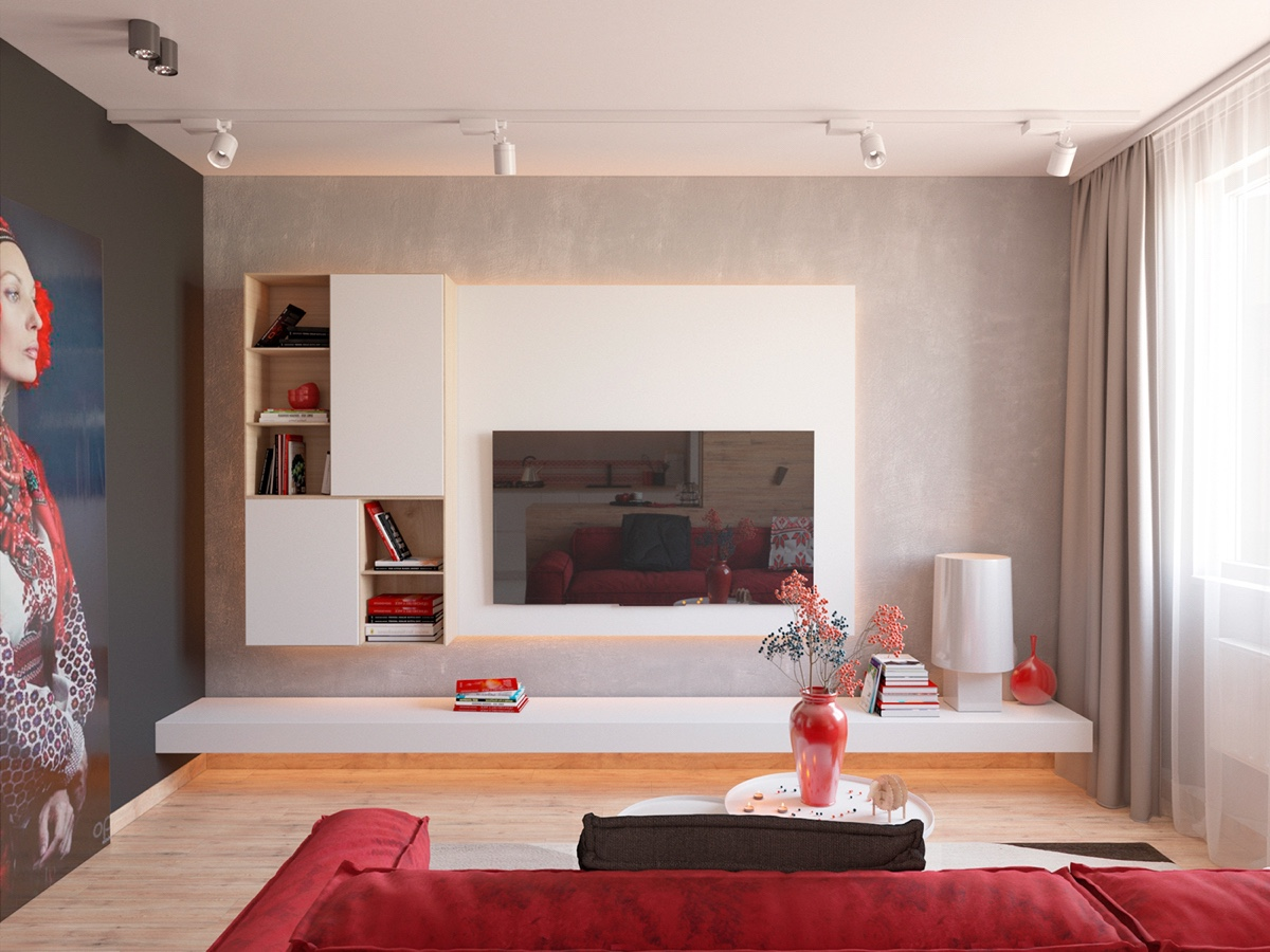 White Wall Entertainment Center - 3 modern apartment interiors that masterfully demonstrate how to use red as an artistic accent