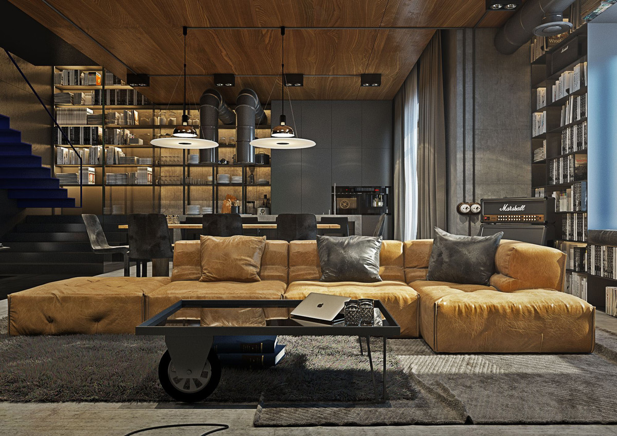 Industrial style living room design the essential guide for Living room designs for bachelors