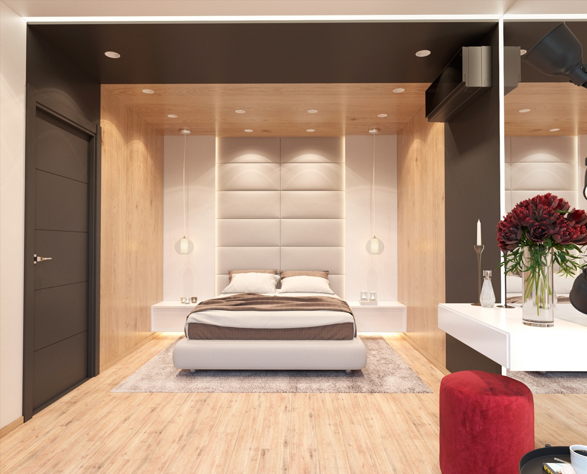 Wood On Wood Bedroom - 3 modern apartment interiors that masterfully demonstrate how to use red as an artistic accent