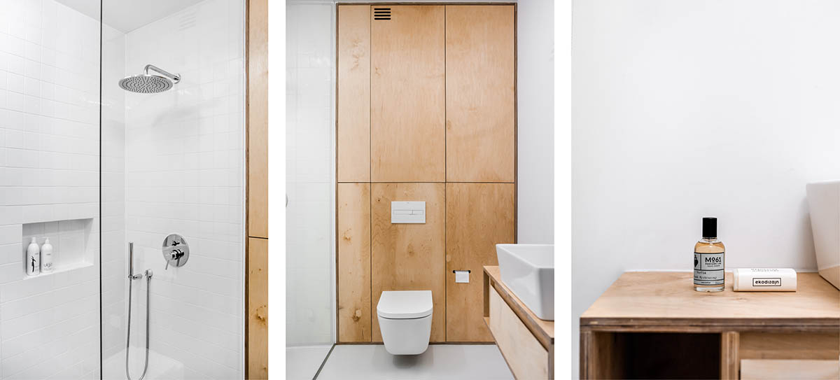 Wooden Cabinetry Simple Bathroom - 3 light and bright apartments celebrating white space