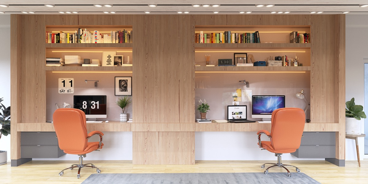 36 Inspirational Home Office Workspaces That Feature 2 Person Desks