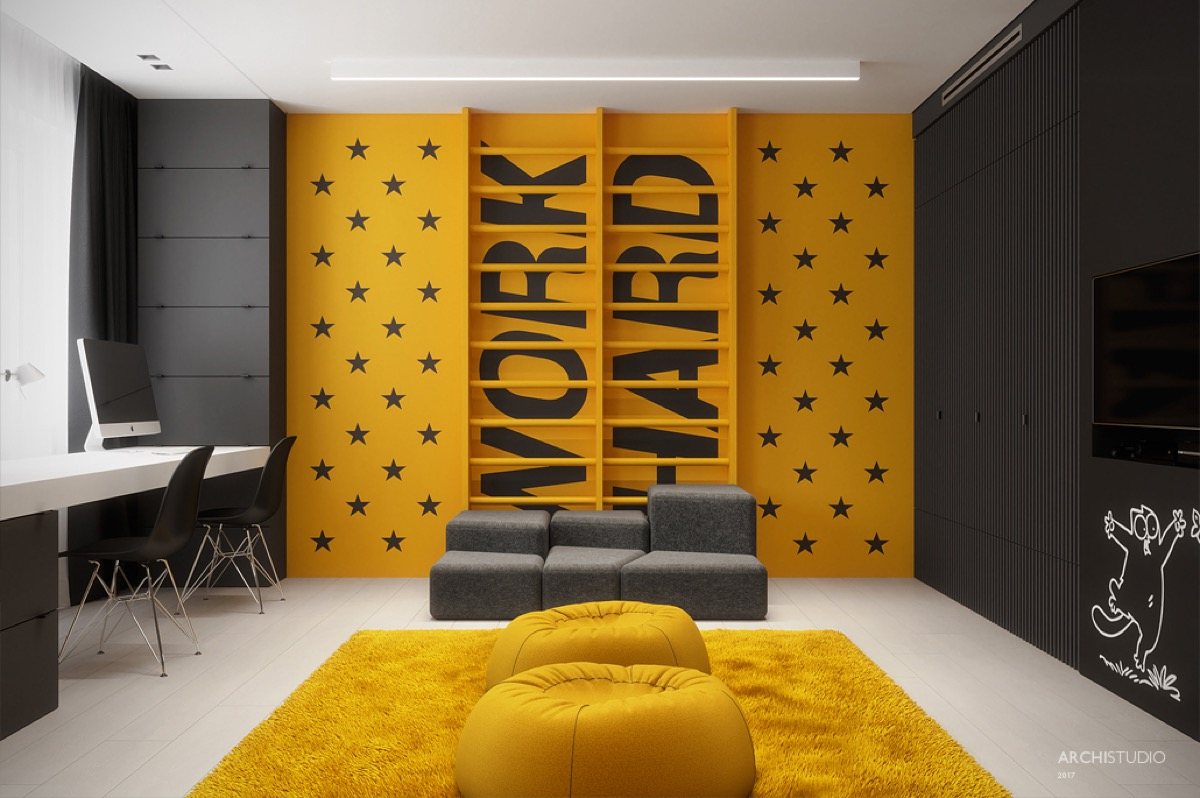 Yellow Accent Wall - Dark themed kids rooms