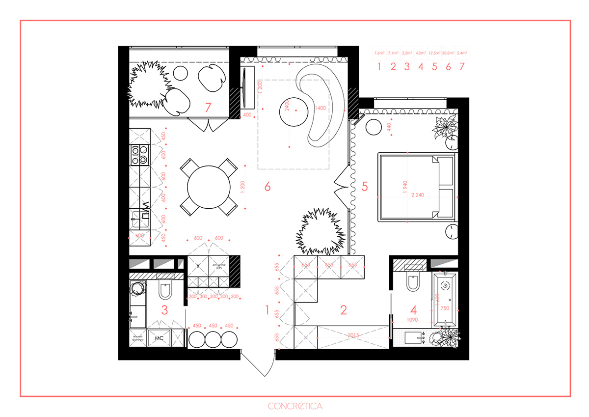 Apartment Floorplan Layout - 6 sleek studios with glass walled bedrooms