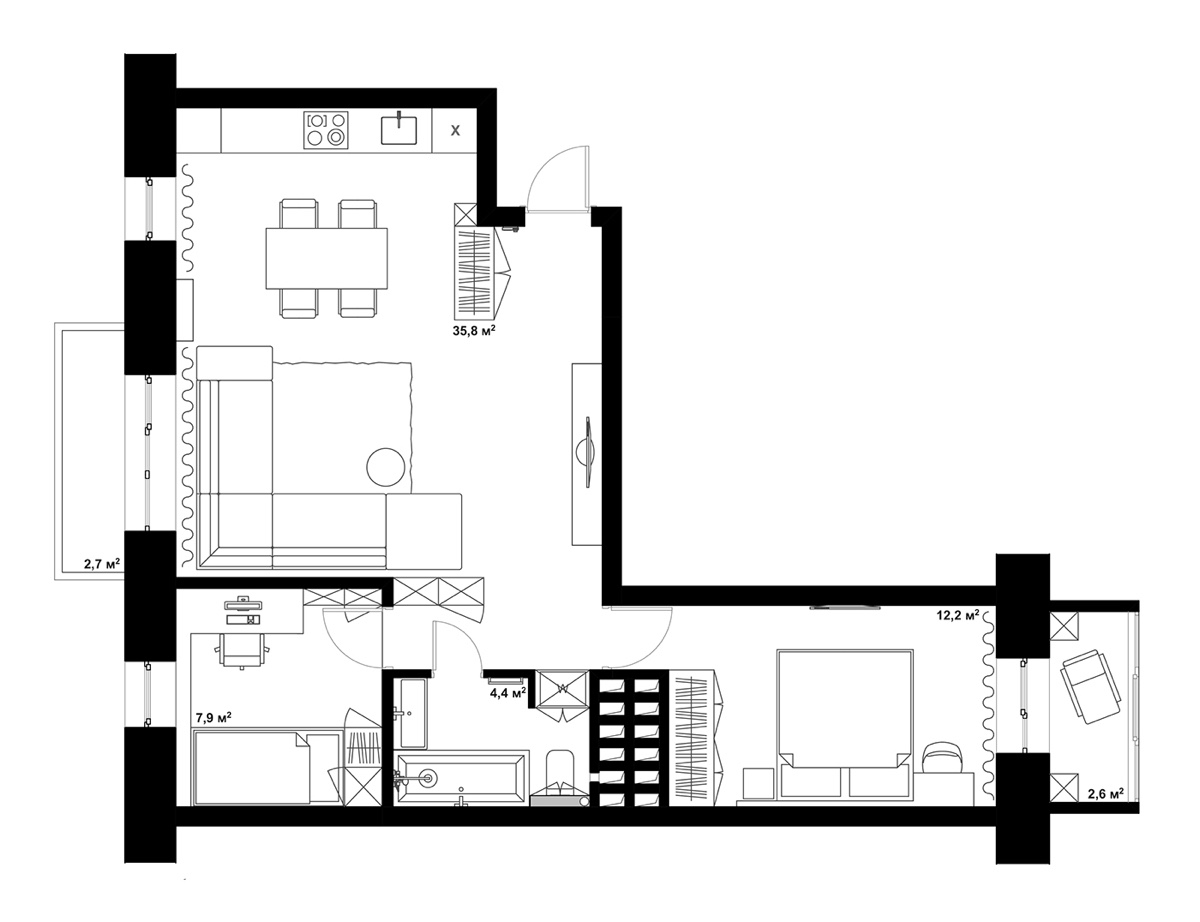 double bedroom l shaped home design 2 examples with floor plans. Black Bedroom Furniture Sets. Home Design Ideas