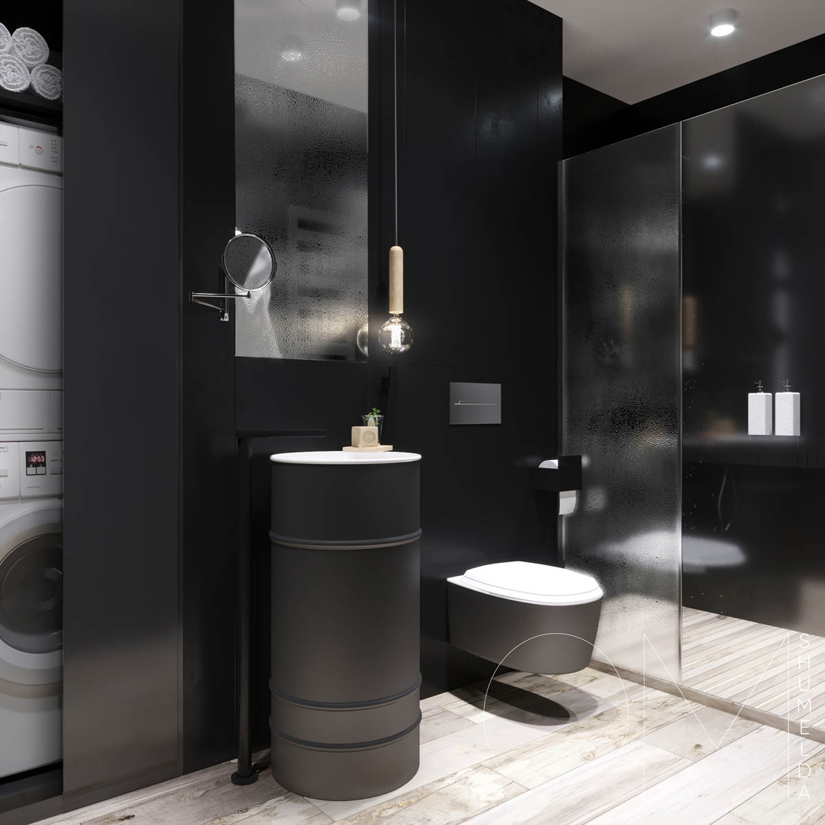 Black Bathroom - 4 chic homes that utilize lofted spaces