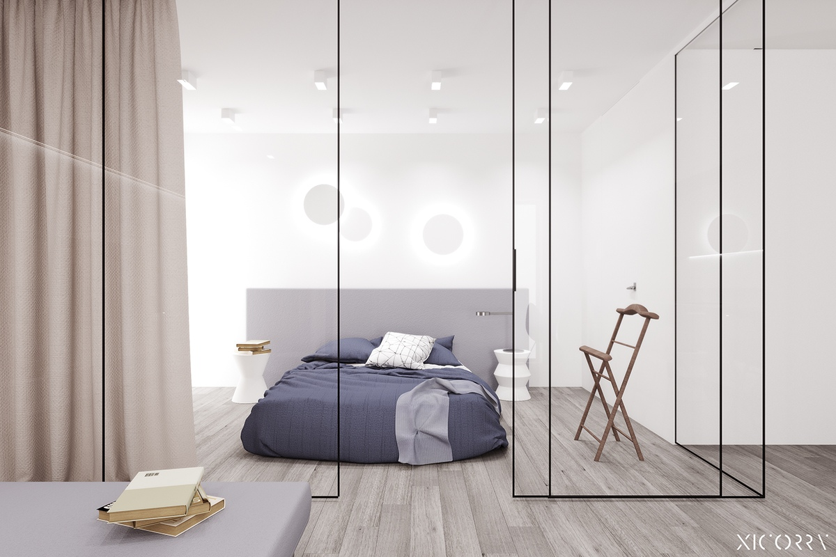 Blue Bedroom - 6 sleek studios with glass walled bedrooms