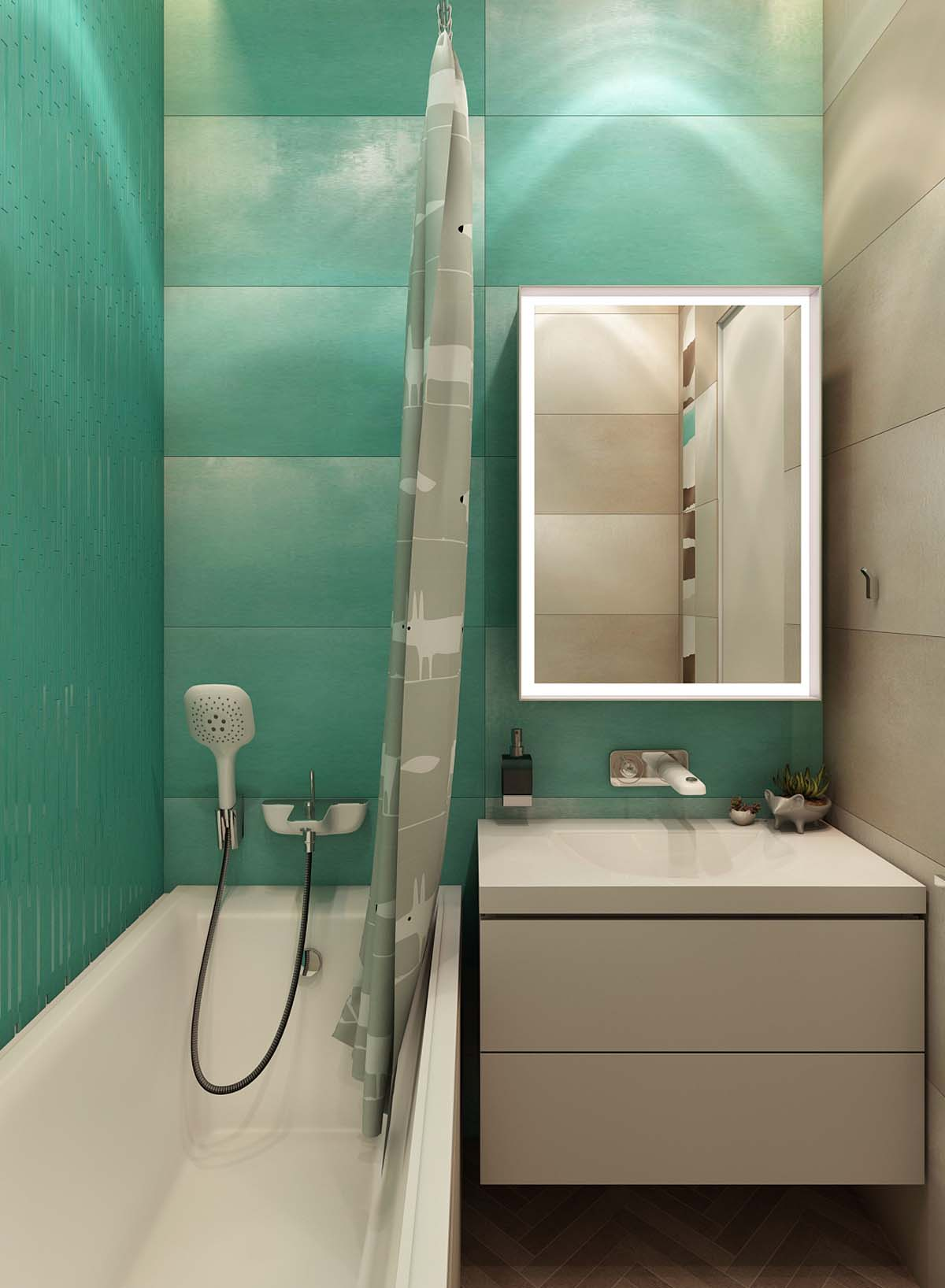Bright Green Bathroom - A simple modern apartment in moscow