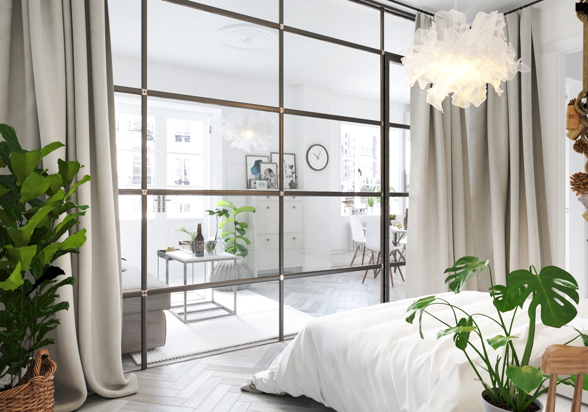 Bright White Bedroom - 6 sleek studios with glass walled bedrooms