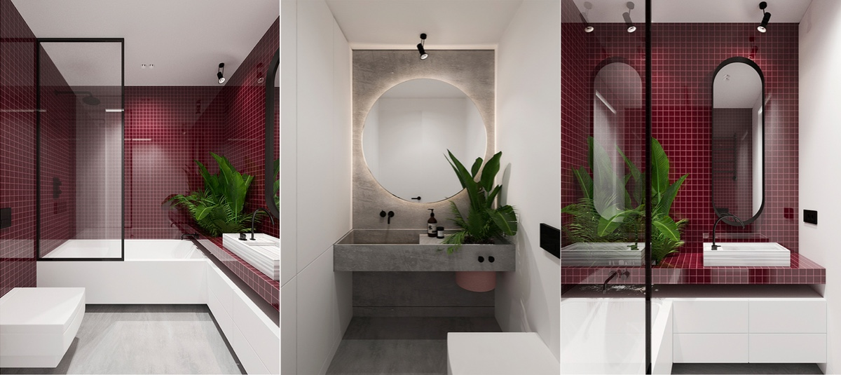 Burgundy Bathroom - 6 sleek studios with glass walled bedrooms