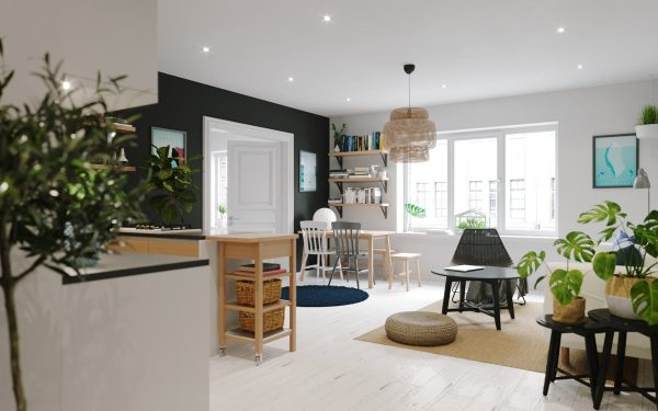 Turning to the right the space opens wider to a kitchen drenched in you guessed it light wood headlined by a row of wall like white cabinets with led