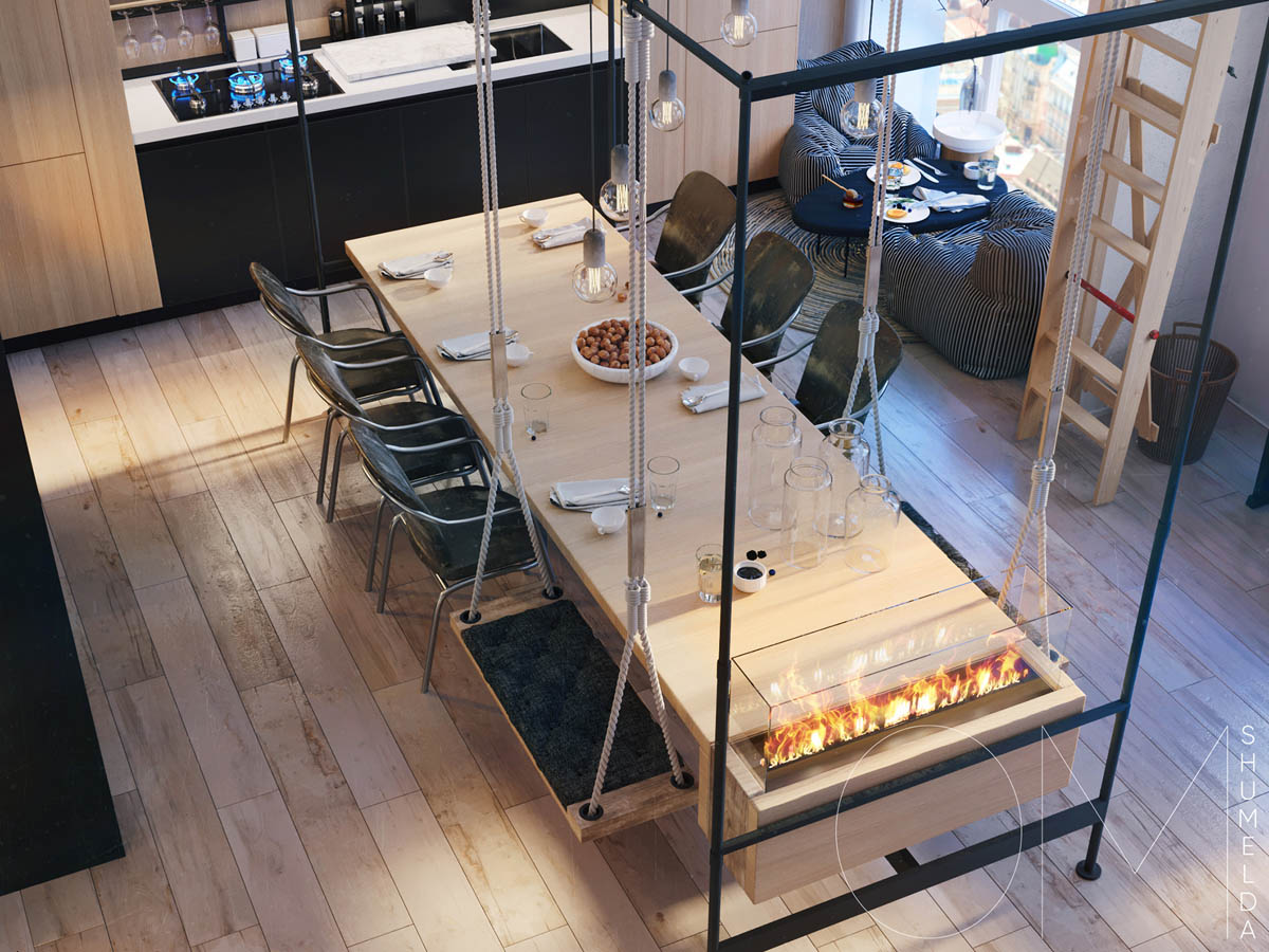Creative Dining Table - 4 chic homes that utilize lofted spaces