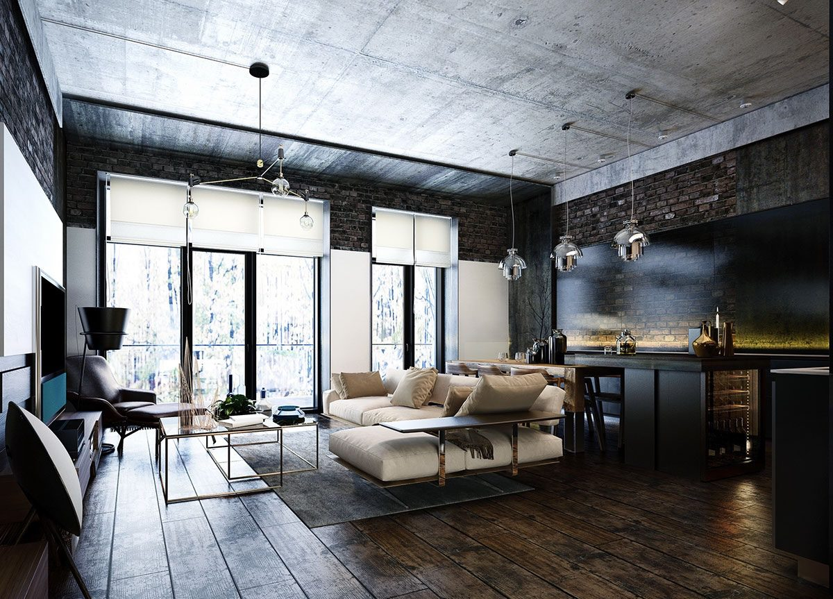 How to design industrial style bachelor pads 4 examples for How to design a loft