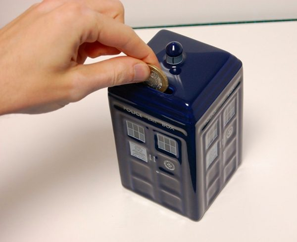 50 cool piggy and coin banks for kids that adults would love too - Tardis piggy bank ...
