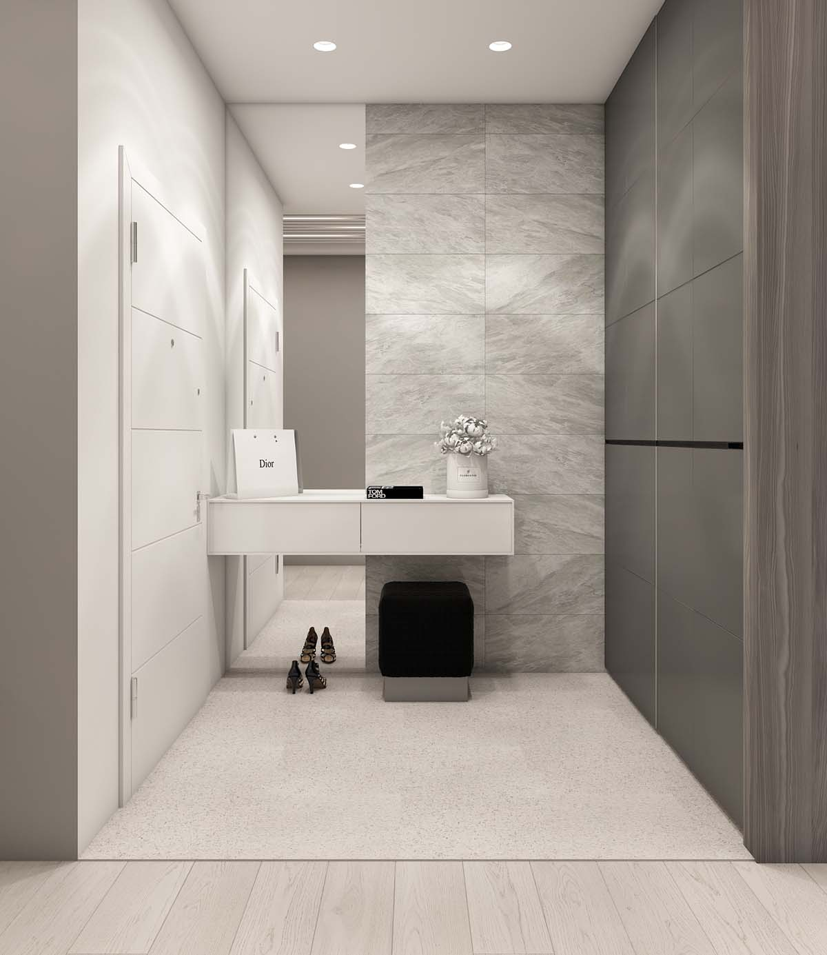 Gray Vanity - A simple modern apartment in moscow
