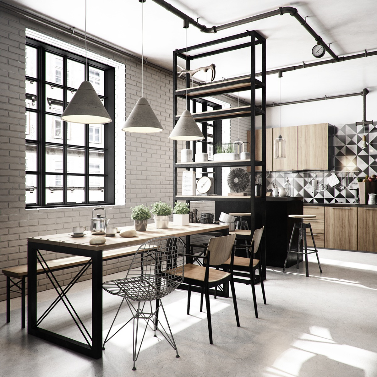 Industrial style dining room design the essential guide for Dining room pendant lights