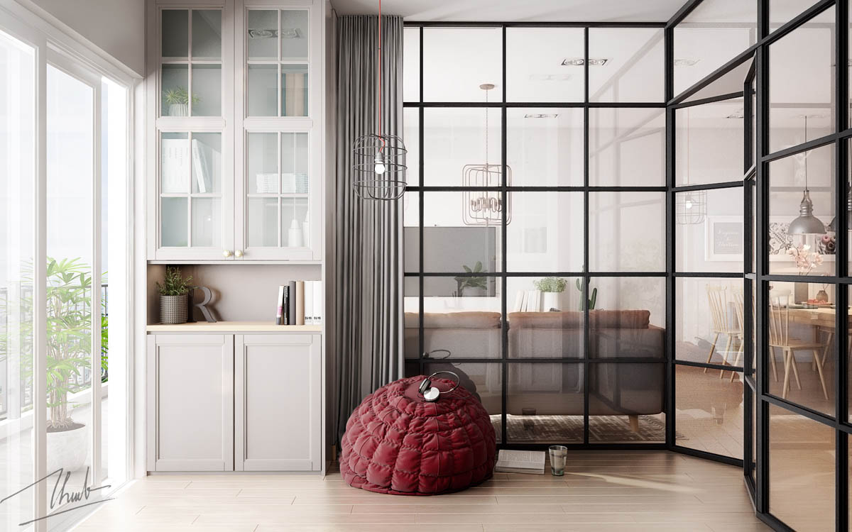 Modern Beanbag Chair - 6 sleek studios with glass walled bedrooms