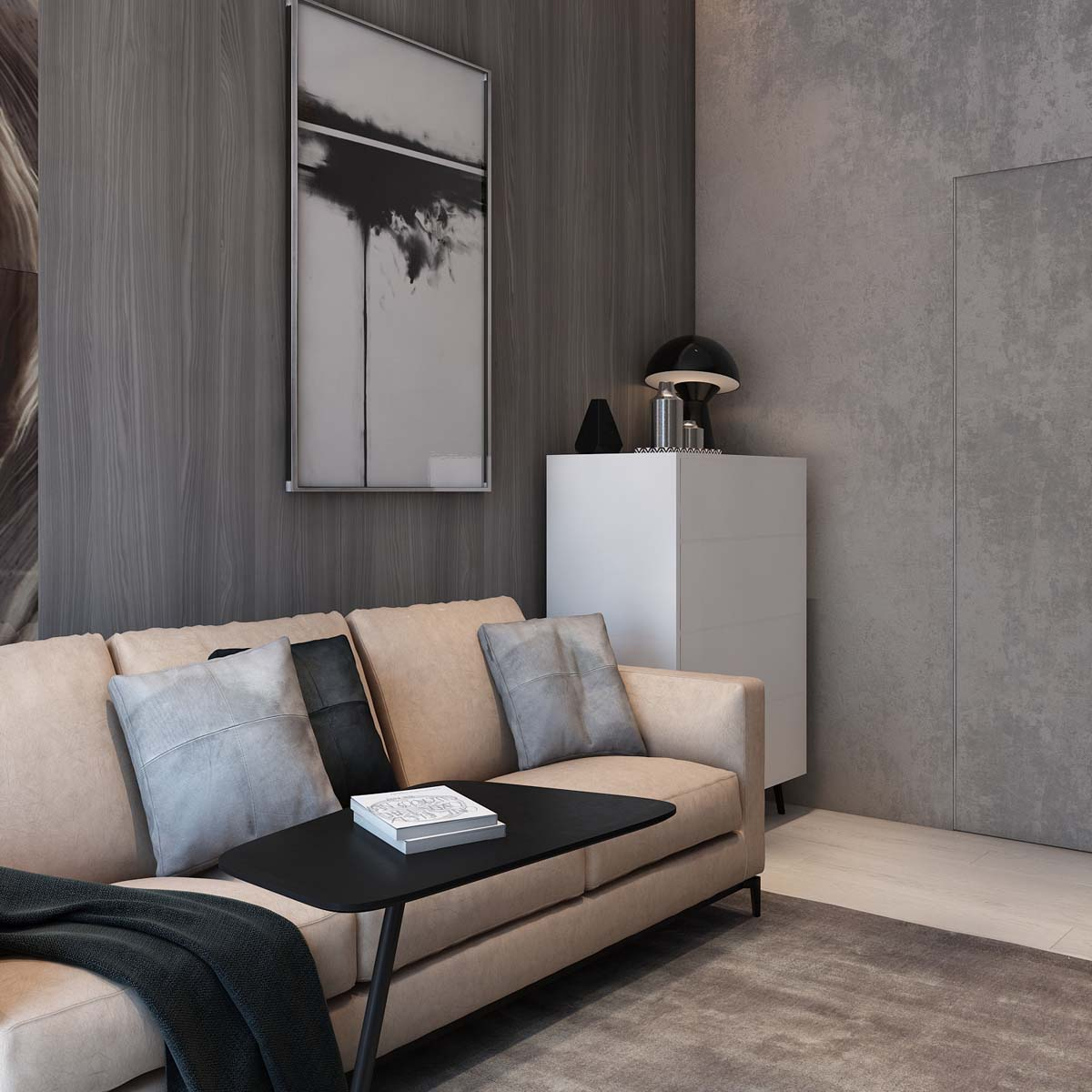 Modern Leather Sofa - A simple modern apartment in moscow