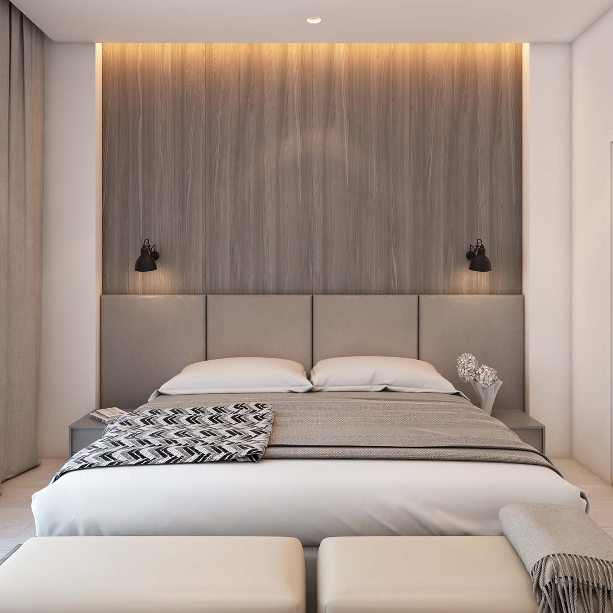 Natural Wood Headboard - A simple modern apartment in moscow