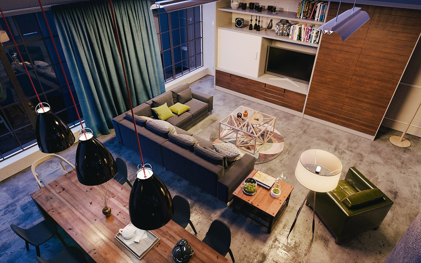 Oversized Floor Lamp - 4 chic homes that utilize lofted spaces