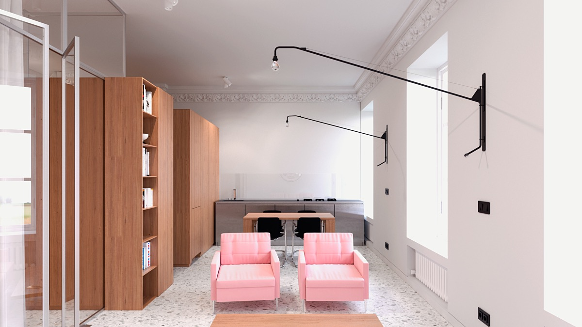 Pink Club Chairs - 6 sleek studios with glass walled bedrooms